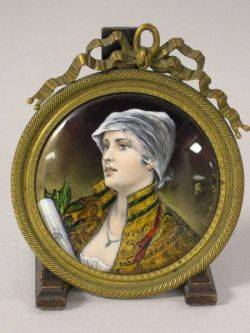 French Giltmetal Framed Enamel Portrait of a Woman