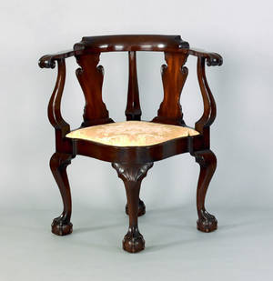 Chippendale style mahogany corner chair probably late 19th c