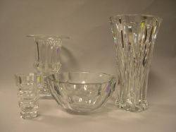 Two Baccarat Colorless Glass Vases a Colorless HeavyWalled Glass Vase and a Riedel Colorless Glass Bowl