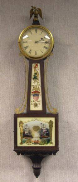 E Howard  Co Federalstyle Mahogany and ReversePainted Patriotic Naval Banjo Wall Timepiece