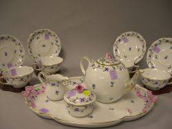 TwelvePiece Herend Handpainted Floral Decorated Porcelain Tea Service
