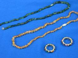 Faceted Citrine and Tourmaline Beaded Necklaces and Two Cabochon Stone Rings