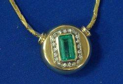 14 kt Gold Emerald and Diamond Pendant Necklace