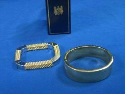 Italian 14kt Bangle Bracelet and an Italian Twotone 14kt Gold Bracelet