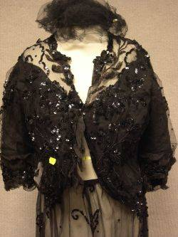 Late Victorian Black Sequined and Beaded Bodice and Skirt