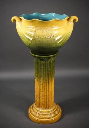 Pottery Jardiniere  Pedestal Christopher Dresser