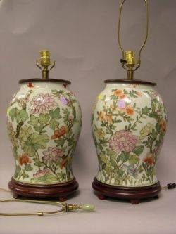 Pair of Chinese Export Porcelain Floral Decorated Jar Table Lamps