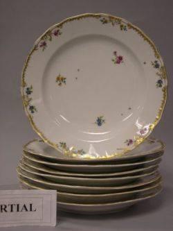 Set of Twelve Mintons Rose Enamel Decorated Porcelain Dinner Plates a Set of Eight Dutch Gilt and Floral Decorated Porcelain Dinner Pl