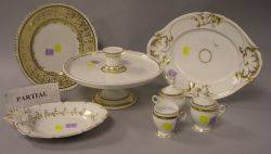 Set of Twelve Limoges Gilt Decorated Porcelain Dinner Plates and Eighteen Pieces of Gilt Decorated Porcelain Tableware