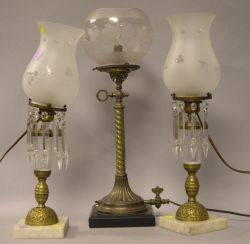 Pair of Brass and Glass Table Lamps with Marble Bases and a Brass and Marble Table Lamp with Grapevine Etched Glass Shade