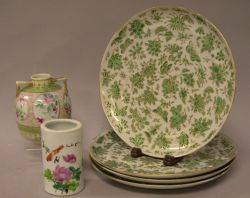 Set of Four Chinese Export Porcelain Plates a Brush Pot and a Nippon Vase