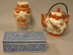 Chinese Blue and White Porcelain Brush Box a Kutani Porcelain Teapot and Jar
