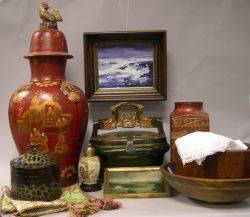 Asian Decorated Ceramic Vases Lacquered Boxes Two Turned Wooden Bowls and Two Framed Oil Landscapes