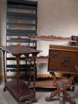 Victorian Walnut ThreeTier Etagere and Walnut Sheet Music Stand Green Painted Wooden Wall Rack and a Spoolturned Stand