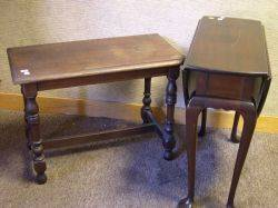 Diminutive Queen Anne Style Mahogany Dropleaf Table and a Mahogany Turned Leg Bench