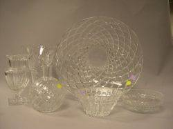 Six Colorless Cut Glass Table Items