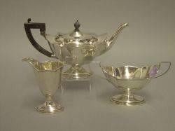 ThreePiece English Sterling Silver Tea Set