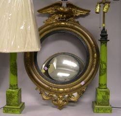Pair of Toilestyle Decorated and Green Painted Table Lamps and a Federalstyle Giltwood Girandole Mirror