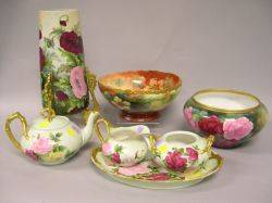FourPiece Limoges Porcelain Handpainted Floral Decorated Tea Set and Three Pieces of Handpainted Floral Decorated Porcelain