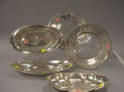 Three Sterling Silver Bread Trays and Two Sterling Silver Overlay Colorless Cut Glass Dishes