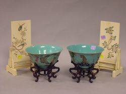 Pair of Chinese Carved Ivory Table Screens and a Pair of Chinese Decorated Porcelain Bowls