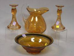 Pair of Amber Glass Candlesticks a Compote and Pitcher
