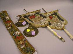 Pair of Victorian Brass and Beaded Needlepoint Table Fire Shields and a Bell Cord