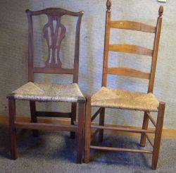 Country Chippendale Birch Side Chair and a Maple Ladderback Side Chair