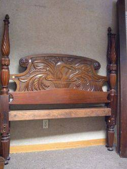 Centennial Carved Mahogany Eagle Headboard and Tall Post Bed