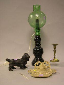 Painted Cast Iron Cocker Spaniel Inkwell Brass Candlestick and a Green Glass Oil Lamp