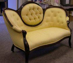 Rococo Revival Yellow Upholstered Walnut Settee