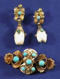 Antique 14kt Gold White Coral and Turquoise Demiparure