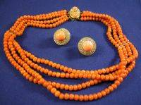 18kt Gold Coral and Diamond Necklace and Earclips
