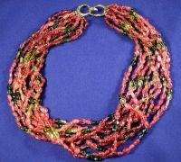 Multistrand Pink and Green Tourmaline Bead Necklace