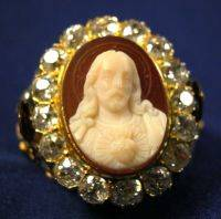 Antique 18kt Gold Agate and Diamond Ring