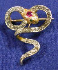 Antique Diamond and Ruby Pin