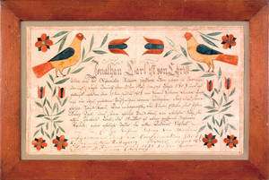 Southeastern Pennsylvania ink and watercolor fraktur dated 1803 for Jonathan Carl
