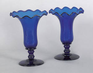Pair of English or American blown cobalt glass vases late 18thearly 19th c