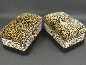 Pair of CheetahLeopard Upholstered Ottomans