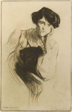 Edgar Chahine French 18741947 Mademoiselle Delvair de la Comedie Francaise