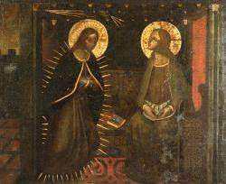 Continental School 15th16th Century Style Two SaintsA View with the Virgin Mary