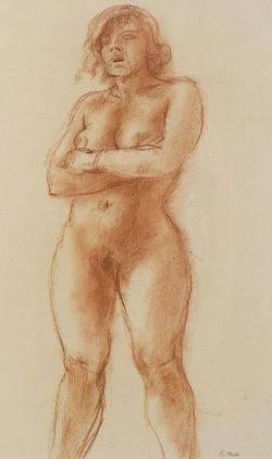 Reginald Marsh American 18981954 Female Nude Sketch
