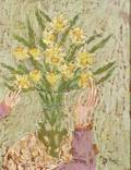 Rifka Angel RussianAmerican b 1899 Bouquet of Daffodils with Rebeccas Hand