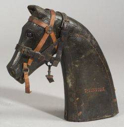 Carved and Painted Horse Head Patent Model for a Horse Halter