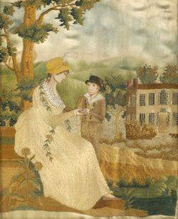 Silk Needlework Picture of a Mother and Son