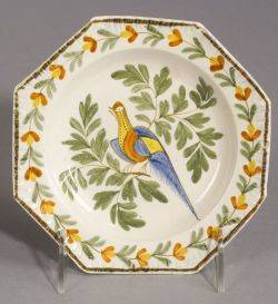Leeds Polychrome Plate with Bird Motif