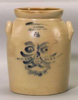 Rare Cobalt Decorated Salt Glazed Stoneware Jar