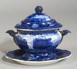 Historical Blue Transfer Decorated Staffordshire Covered Tureen and an Undertray