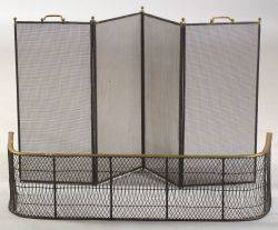 Brass and Wirework Fire Fender and Folding Screen