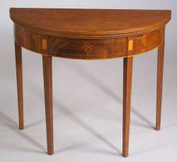 Federal Mahogany Inlaid Demilune Card Table